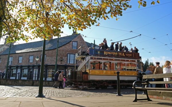 Autumn 1900s Town street with tram 114