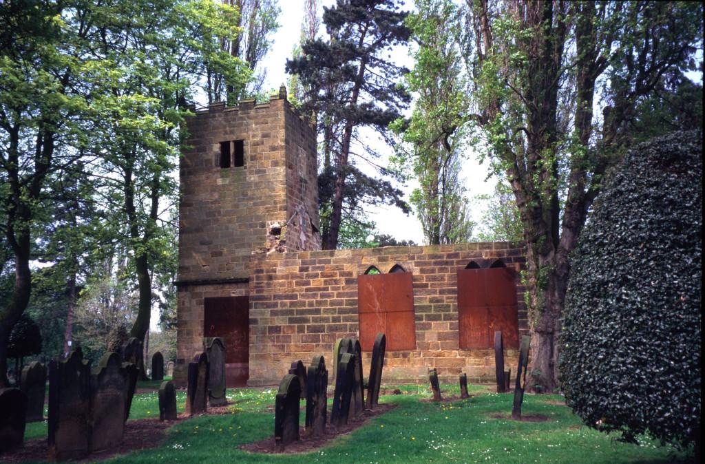 The church in its original location in Eston