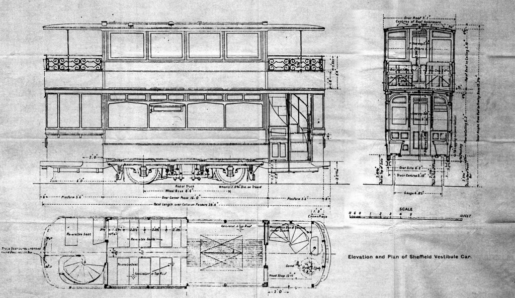 In 1907 the United Electric Car Company submitted to Sheffield Corporation Transport a design for a four wheel, double deck, open balcony car on a Mountain & Gibson Radial truck