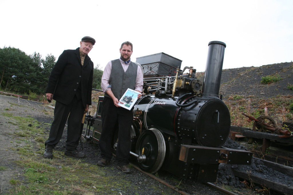 David Young and Paul Jarman stood with Samson at Beamish Museum
