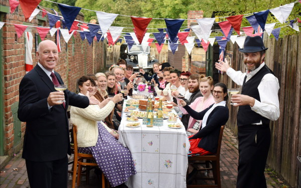 1950s street party celebrating £10.9 million Heritage Lottery Fund successful application