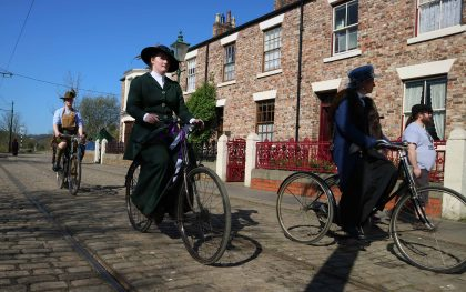 Cyclist Beamish Town Street Great North Festival of Transport