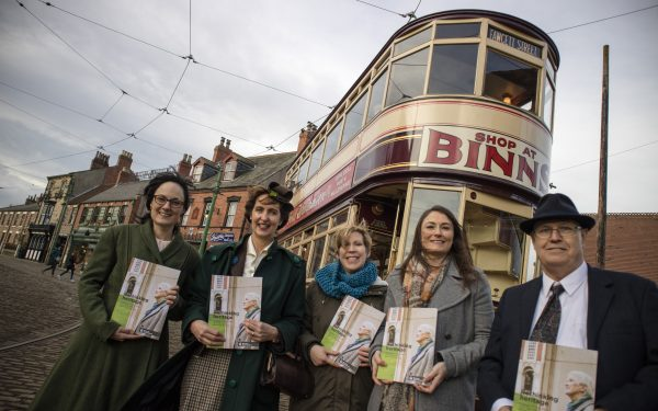 Dementia Friendly Heritage Guide Launch at Beamish Museum, County Durham, North East England, 1900s Town, Edwardian Town, in front of Tram 16