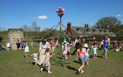 May Day May Pole Dancing at Beamish Museum, County Durham