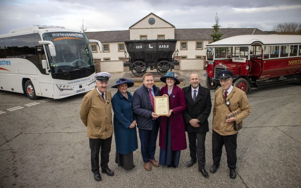 Beamish staff and volunteers receiving the Coach Friendly Status award at Beamish Museum