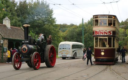 Power from the Past event, traction engine, tram and vintage bus at Beamish Museum, County Durham