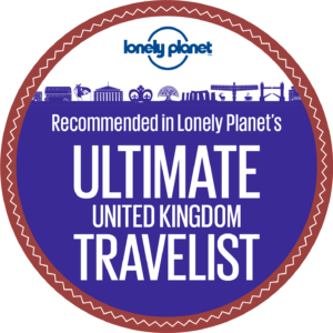 Lonely Planet's Top UK Experiences. Ultimate United Kingdom Travelist logo.