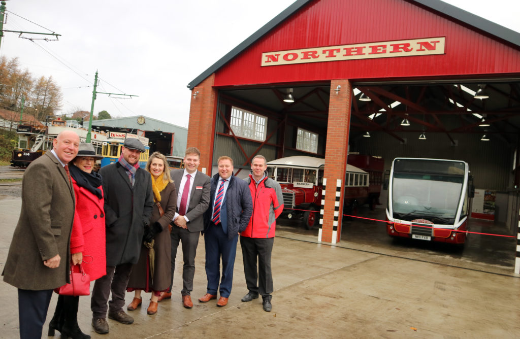 Representatives from Beamish Museum, The National Lottery Heritage Fund, Go North East and The Reece Foundation at the opening of Northern General Transport Bus Depot