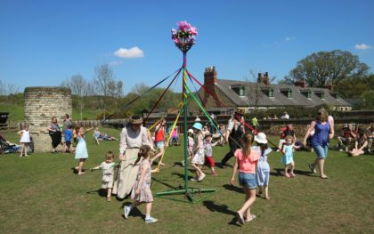 May Day May Pole Dancing at Beamish Museum, County Durham