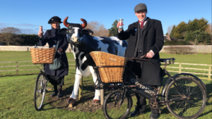 Costumed Beamish staff deliver Beamish wholesale sweets to Homer Hill