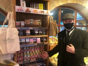Matthew Henderson delivering Beamish wholesale sweets to Knitsley Farm Shop while dressed in Edwardian costume